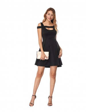 Excellent Black A-Line Mini Dress With Pockets Eye Catcher