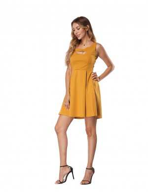Glam Yellow Hollow Out Skater Dress Sleeveless Casual