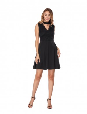 Breathable Black Mini Lace Skater Dress With Chocker