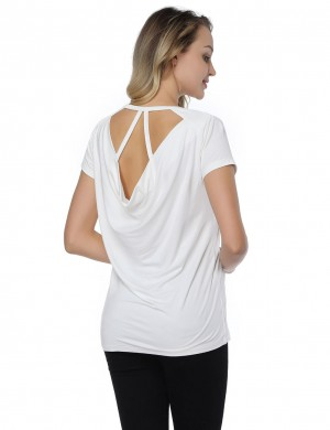 Functional White Ruched Cut Out Back Shirt Bamboo Fiber