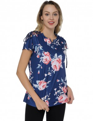 Casual Blue Flower Printed V Neckline Knotted Shirt