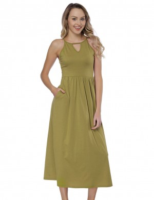 Relaxing Green Round Neck Cami Straps Long Dresses