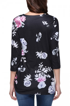 Tailored Flower Pattern Ruching Blouse Long Sleeves Casual Clothes