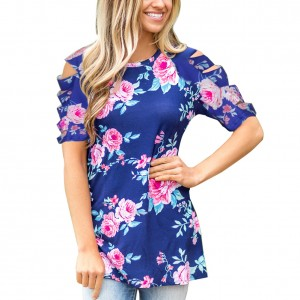 Casual Blue Flower Pattern Ruffle Cut Out Detail T-Shirt