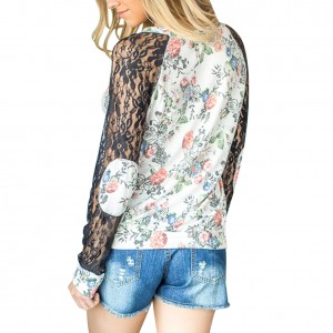 Comfy White Full Back Flower Print Pattern Blouse Fashion Sale