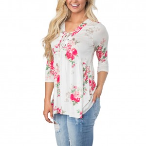 Breathe Freely Loose Floral Printed White Lace-Up V-Neck Top
