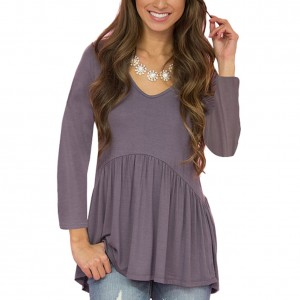 Breathe Freely Super Soft Grey Sweetheart Neckline Blouse Full Sleeve