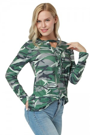 Gentle Fabric Breathable Green Camo Print Blouse Full Sleeve Lace Up