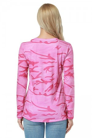 Gentle Fabric Soft V Shape Pink Camouflage Pattern Blouse Keyhole Front