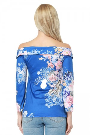 Gentle Fabric Eye-Appealing Floral Print Blue Blouse Crossover Front