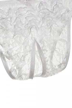 Plus Size White Open Crotch Lace Panty