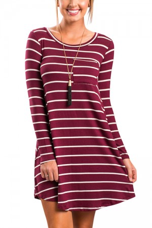 Feminine Curve  Comfort Striped Red Shift Dress Round Neck Mini Length