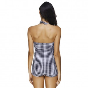 Comfortable Classical Underwire Plaid Swimsuit Full 1 Piece