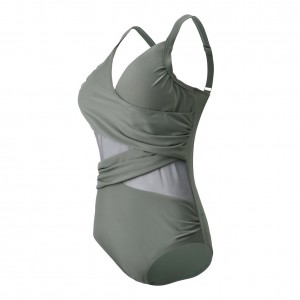 Attractive Padded Across Mesh Plus Size Swim Cover