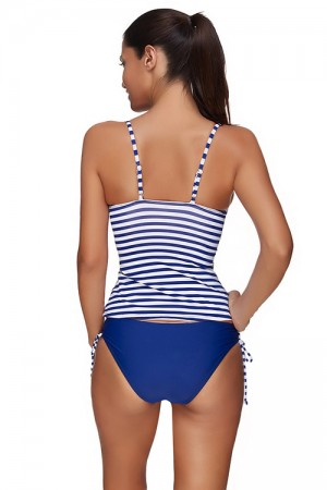 Island Paradise Striped Padded Top Swimsuit Coverups Plus Size