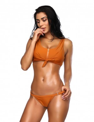 Spectacular Orange Adjustable Bottom Perfect Knot Beachwear Zipper Ladies