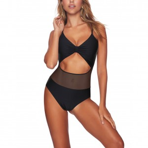 Black Mesh Patchwork Swimwear Gorgeous Cut Out Feminine Charm Ladies