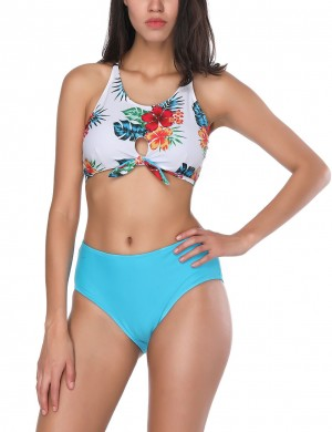 Passionate Blue Back Crossover Swimwear Blossom Print Bathing Suit