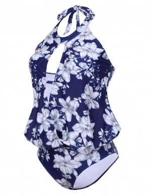 Causal Naughty  Hollow Out Large Floral One Piece Swimsuit Wireless Holiday Fashion
