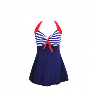 Fashion Forward Striped Padded Plus Size Swim Dress on Sale