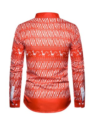 Effortless Christmas Alpaca Printed Men Shirt Comfort