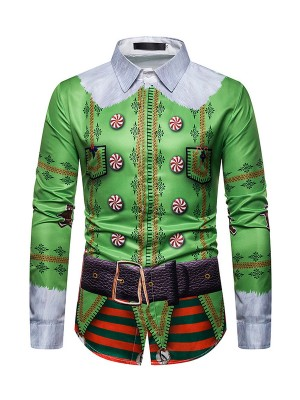 Picturesque Xmas Man Long Sleeve Blouse Button For Men