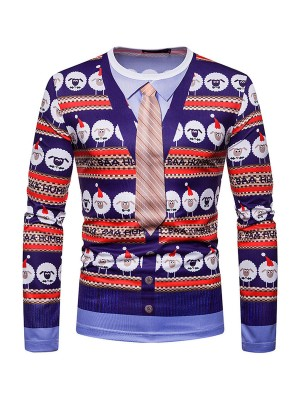 Simply Chic Christmas Sheep Printing Male Blouse Fashion