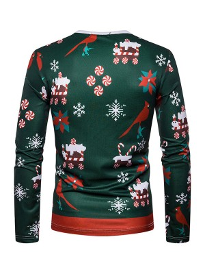 Graceful Round Neck Men Xmas Shirt Full Sleeves For Male