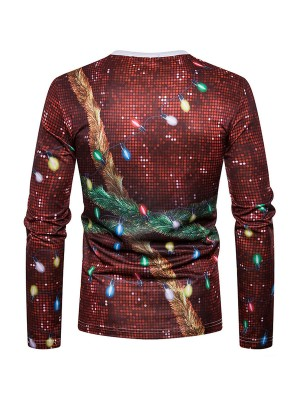 Creative Long Sleeves Mens Xmas Printing Top Fashion Design