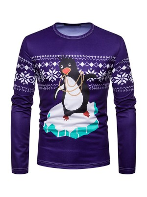Eye Catching Round Neck Penguin Print Christmas Top Cool Fashion