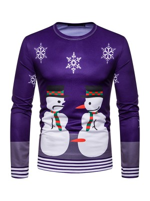 Mystic Male Blouse Snowmen Print Stripe Hem For Hiking