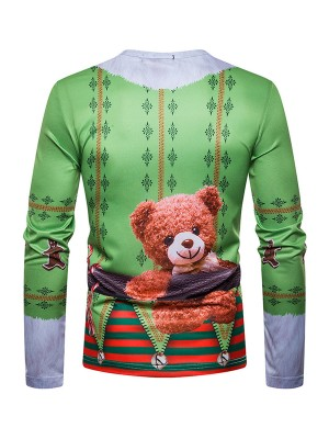 Classical Round Neck Male Shirt Christmas Pattern Chic Trend