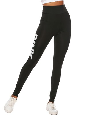 Happy Girl Black Letter Pattern Leggings High Rise Comfort