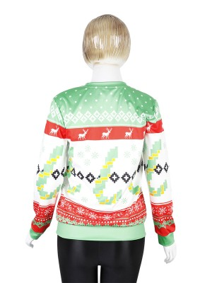 Sophisticated Christmas Print Sweatshirt Round Neck Leisure Time