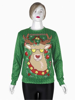 Bright Long-Sleeved Xmas Print Sweatshirt Comfort