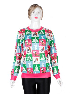 Contouring Xmas Sweatshirt Crew Neck Full Sleeve Female Clothing