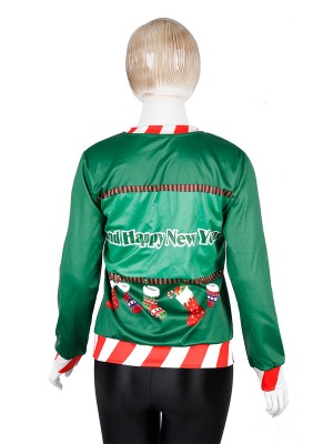 Homelike Patchwork Santa Claus Sweatshirt Comfort Fashion