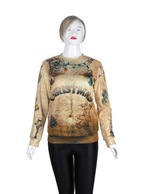 Bright Full Sleeved Print Sweatshirt Xmas Women's Clothing