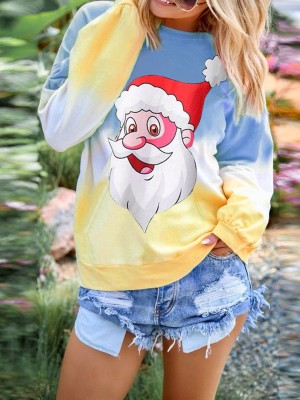 Simply Blue Long Sleeves Top Christmas Printed Womens Trendy Clothes