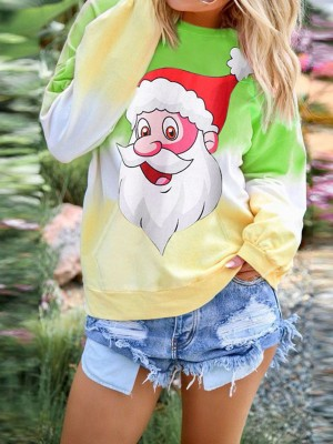 Enticing Green Gradient Santa Claus Pattern Sweatshirt Slim Fit