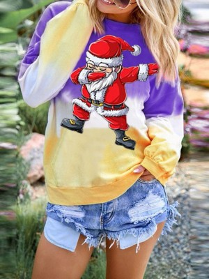 Spring Gradient Christmas Paint Top Patchwork Women Fashion