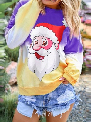 Dainty Purple Santa Claus Paint Shirt Round Neck Comfort Fashion