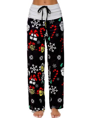 Extraordinary Black Christmas Printed Pants Colorblock Stretchy