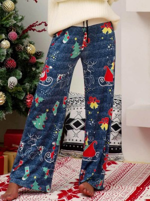 Dramatic Blue Christmas Printed Wide Leg Pants Chic Trend