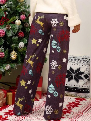 Plain Dark Gray Contrast Color Christmas Print Pants