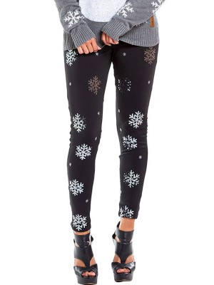 Desirable Snowflake Printed Leggings Ankle Length For Sauntering