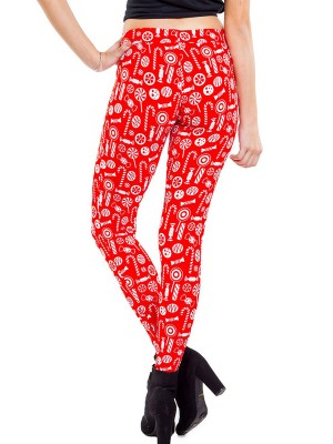 Form-Fitting Christmas Patin Ankle Length Leggings Women Outfit