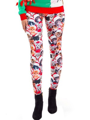 Dishy Printed Christmas Leggings Full Length Modern Fashion