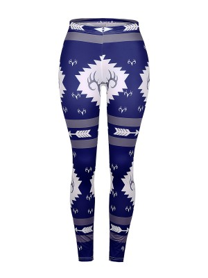 Fiercely Blue Ankle Length High Rise Print Leggings Sensual Curves
