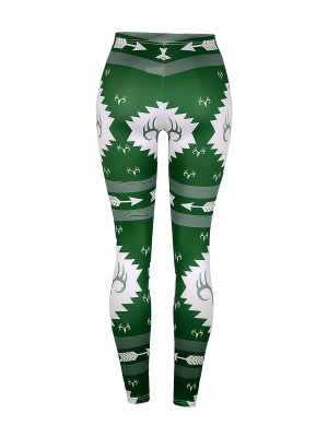 Ultra Contemporary Green Xmas Pattern Leggings High Rise Sensual Curves